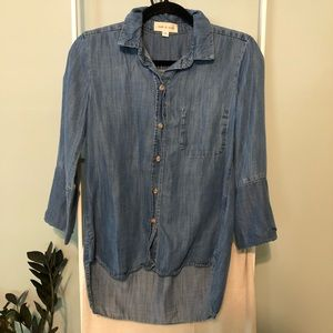 Anthropologie Cloth & Stone Blue Chambray Button Down Up Long Sleeve Top Blouse